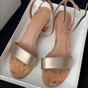 NWT Anthropologie gold block heels 7